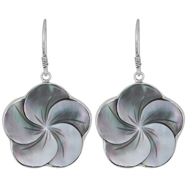 Handmade Silver Mother of Pearl Floral Earrings (Indonesia)