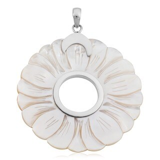 Handmade Large Mother of Pearl Sterling Silver Pendant (Indonesia)