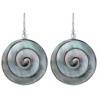Handmade Mother of Pearl Silver Swirl Earrings (Indonesia)