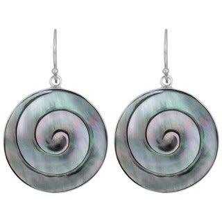 Handmade Mother of Pearl Silver Swirl Earrings (Indonesia)