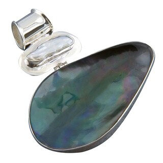 Handmade Mother of Pearl Silver Pendant (Indonesia) - Blue/Green/White