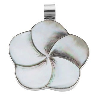 Handmade Sterling Silver Mother of Pearl Flower Pendant (Indonesia)