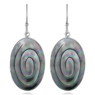Handmade Silver Mother of Pearl Oval Swirl Earrings (Indonesia)