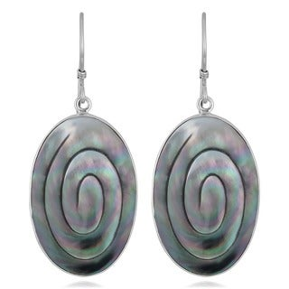 Silver Mother of Pearl Oval Swirl Earrings (Indonesia)
