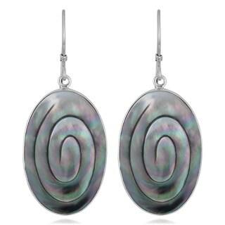 Handmade Silver Mother of Pearl Oval Swirl Earrings (Indonesia)