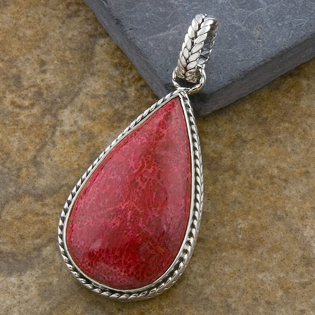 Silver Red Sea Coral Teardrop Pendant (Indonesia)