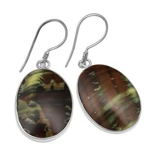 Handmade Green Turban Shells Silver Earrings (Indonesia)