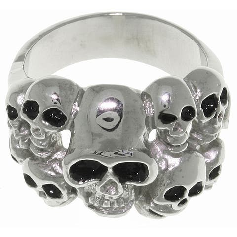 Carolina Glamour Collection Stainless Steel Ten Skulls Ring - White