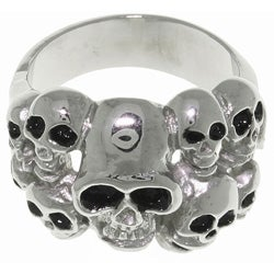 Carolina Glamour Collection Stainless Steel Ten Skulls Ring
