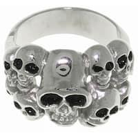 Carolina Glamour Collection Stainless Steel Ten Skulls Ring - White