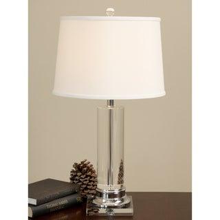 Crystal Column Chrome Finish Table Lamp