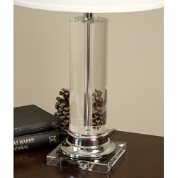Crystal Column Chrome Finish Table Lamp