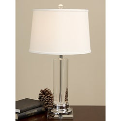 Lamp On Table: Crystal Column Chrome Finish Table Lamp,Lighting