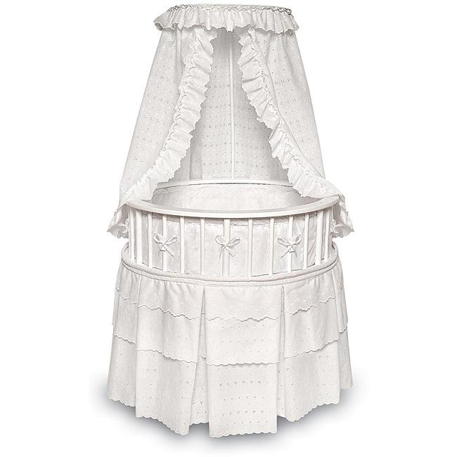 Shop White Elegance Round Baby Bassinet With Eyelet