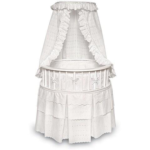 White Elegance Round Baby Bassinet with Eyelet Bedding