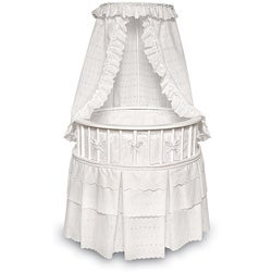 White Elegance Round Baby Bassinet with Eyelet Bedding