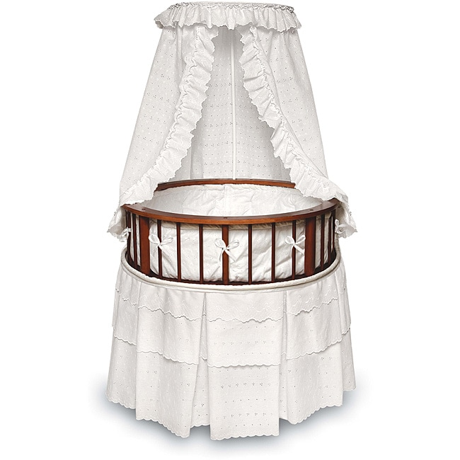 Cherry Elegance Round Bassinet with Eyelet Bedding - Thumbnail 0