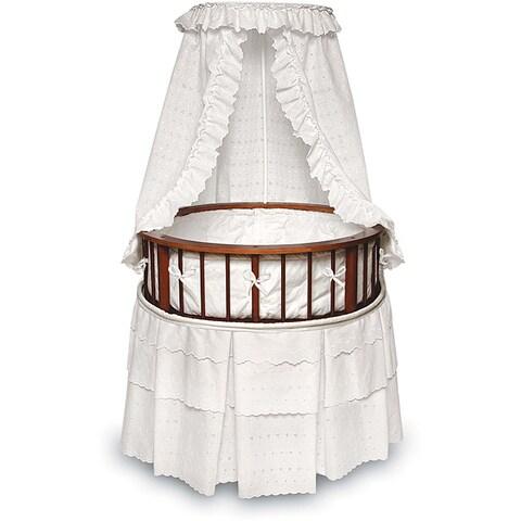 Cherry Elegance Round Bassinet with Eyelet Bedding