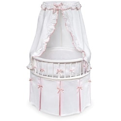 White Elegance Round Bassinet with Waffle Bedding