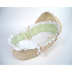 Natural Moses Basket with Sage Gingham Bedding