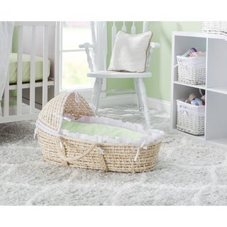 Badger Basket Natural Hooded Baby Moses Basket with Bedding