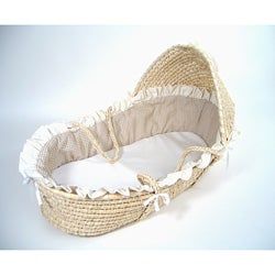 Natural Moses Basket with Beige Gingham Bedding