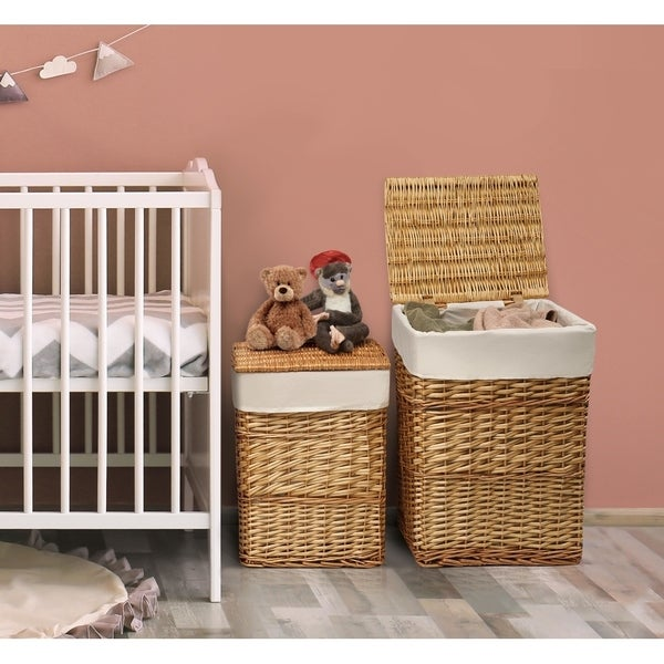 Badger Basket Wicker Two Hamper Set with Liners