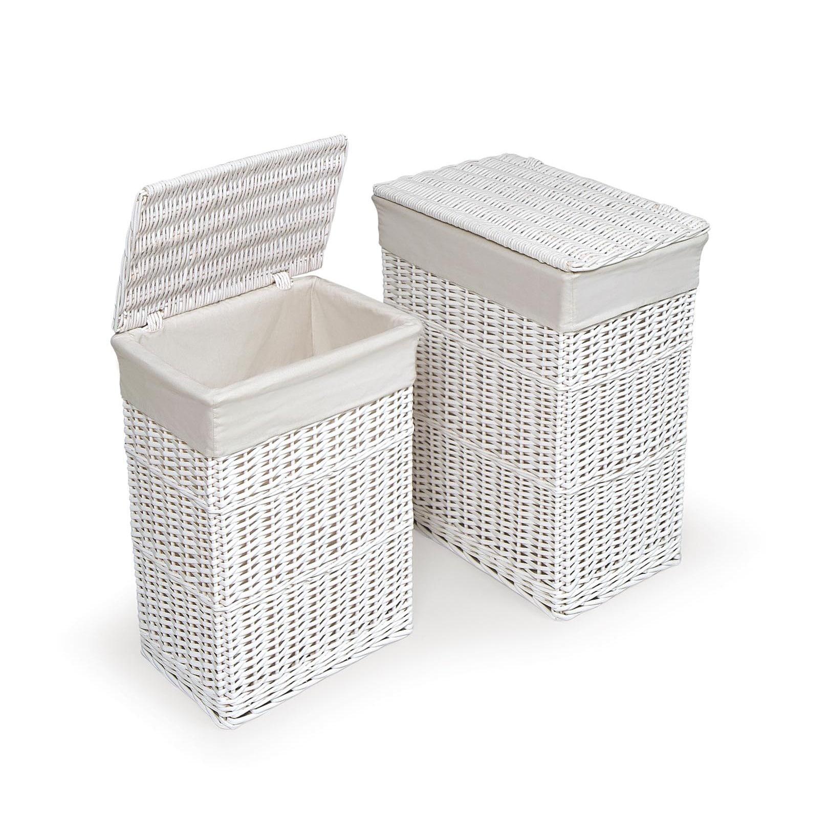 Badger Basket White Hamper with Liners (Set of 2)
