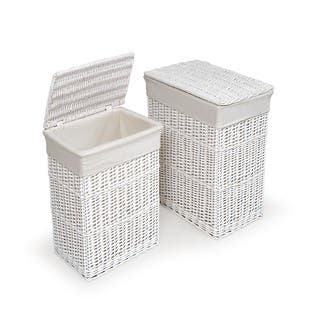 White Hamper With Liners Set Of 2