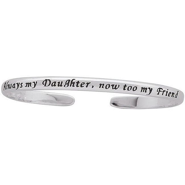 Sterling Silver Engraved Daughter Sentiment Cuff Bracelet