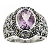 Glitzy Rocks Sterling Silver Gemstone and Marcasite Ring