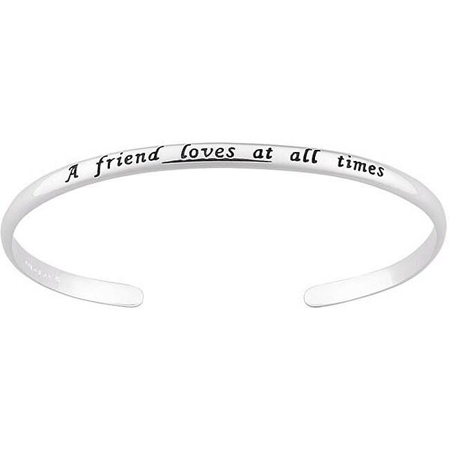 Sterling Silver Engraved Friends Sentiment Cuff Bracelet