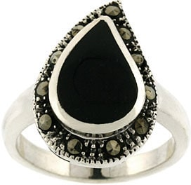 Glitzy Rocks Sterling Silver Marcasite and Onyx Teardrop Ring