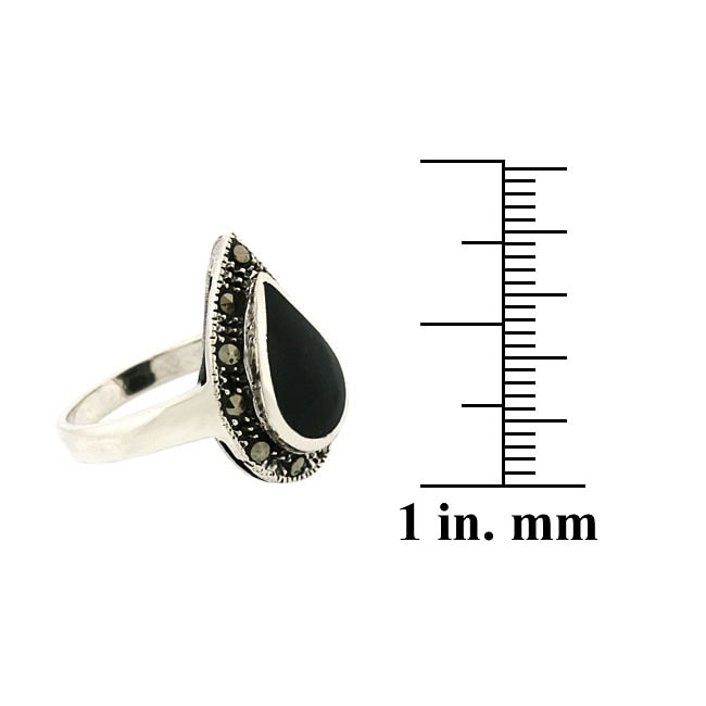 Glitzy Rocks Sterling Silver Marcasite and Onyx Teardrop Ring - Thumbnail 1