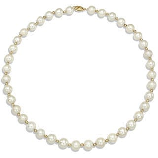 DaVonna 14k Yellow Gold Beads and White FW Pearl Necklace (9-10 mm)