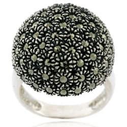 Glitzy Rocks Sterling Silver Marcasite Dome Ring