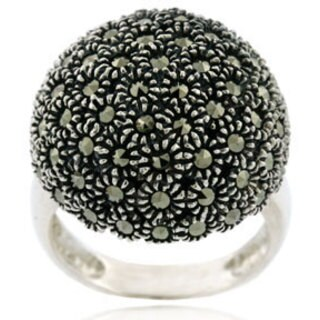 Glitzy Rocks Sterling Silver Marcasite Dome Ring