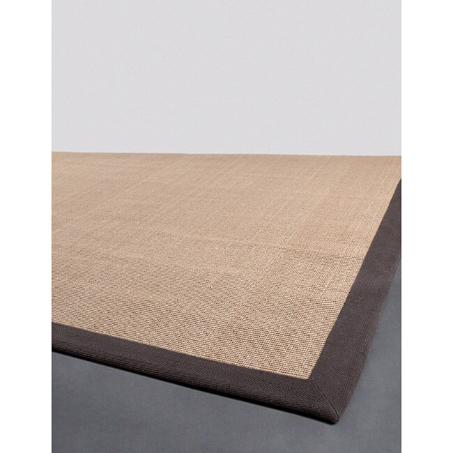 Artist's Loom Hand-woven Contemporary Border Natural Eco-friendly Sisal Rug - 5' x 8'