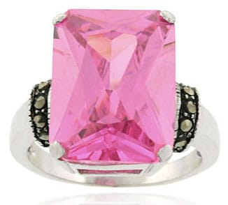 Icz Stonez Sterling Silver Marcasite and Pink CZ Ring