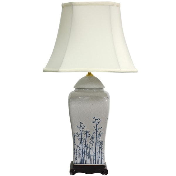 Handmade 26-inch Foliage Vase Lamp (China)