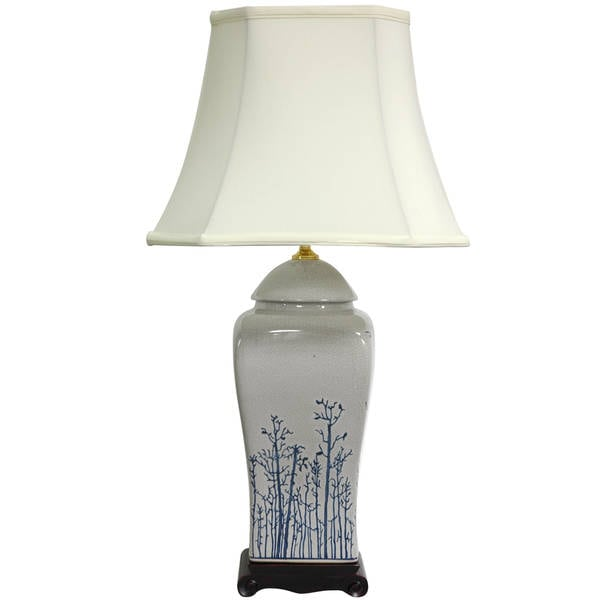 Handmade 26-inch Foliage Vase Lamp (China)