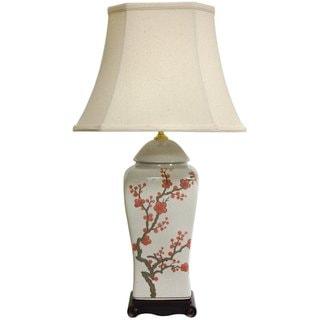 Handmade 26-inch White and Red Cherry Blossom Porcelain Vase Lamp (China)