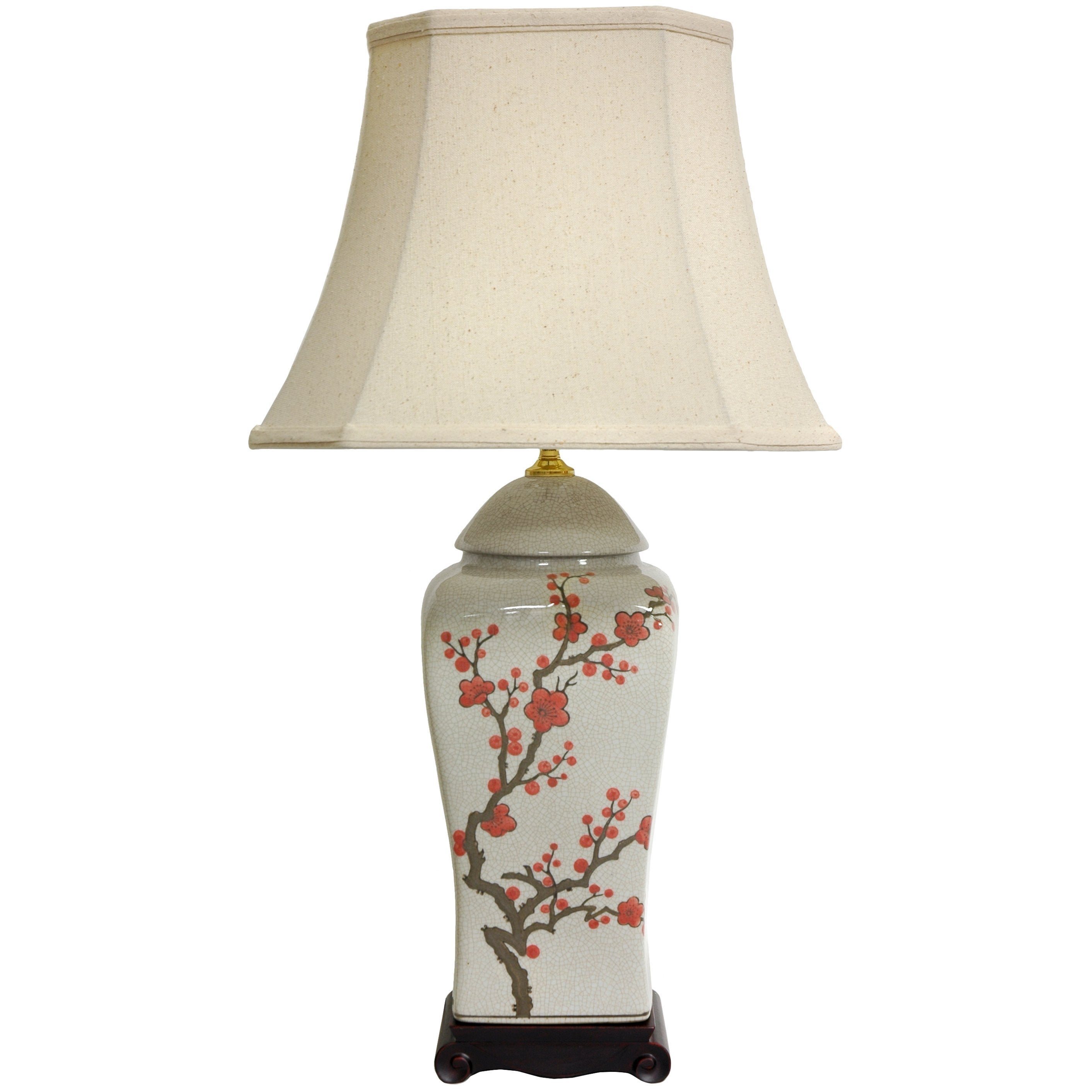 Handmade 26-inch White and Red Cherry Blossom Porcelain V...