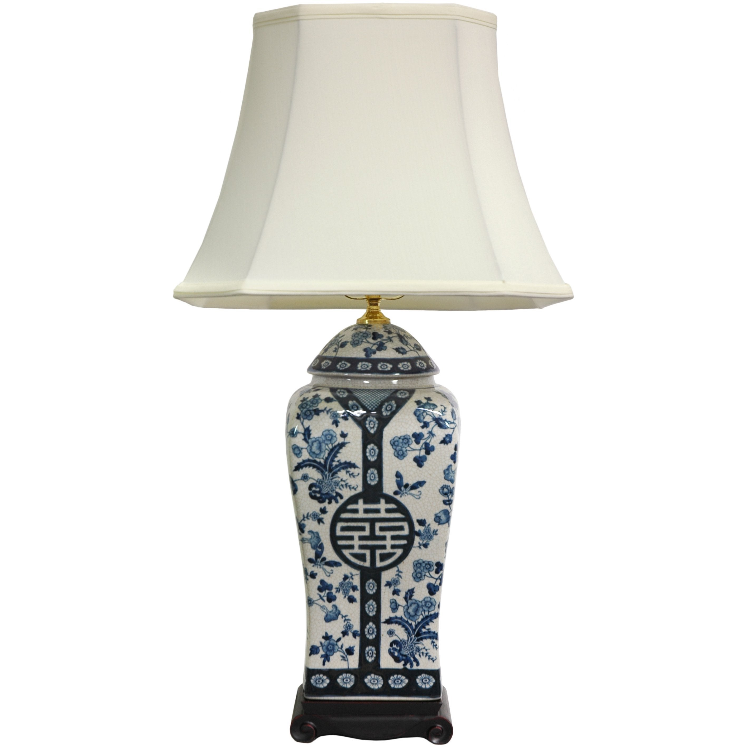 "Handmade 26-inch Blue and White Vase Lamp (China) (26"" Bl..."