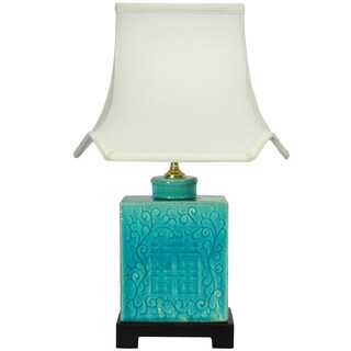 Handmade 19.5-inch Turquoise Vase Lamp (China)