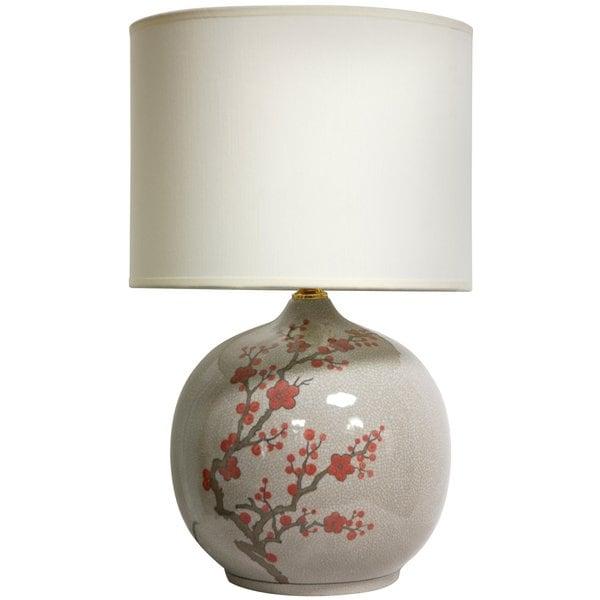 Handmade 20-inch Cherry Blossom Vase Lamp (China)