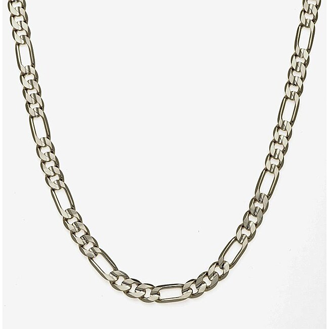 Simon Frank Sterling Silver Overlay 8mm Figaro Chain (24-inch)