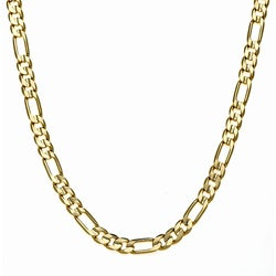 Simon Frank 14k Yellow Gold Overlay 8mm Figaro Chain (30-inch)
