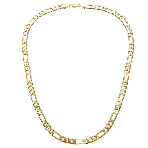 Simon Frank Yellow Gold Overlay 8mm Figaro Chain (30-inch)