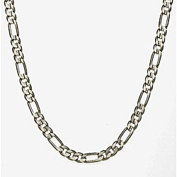 Simon Frank 14k White Gold Overlay 8mm Figaro Chain (36-inch)